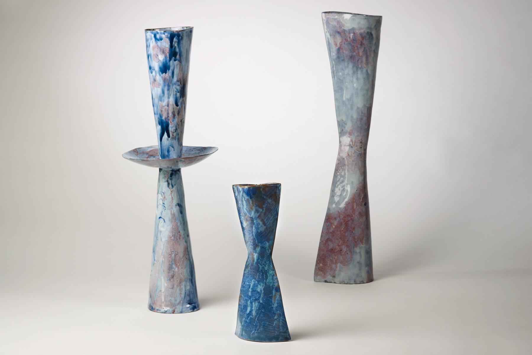 Three Fausto Melotti Vaso-Vescovo ceramic vases at Italian design and art gallery Casati Gallery