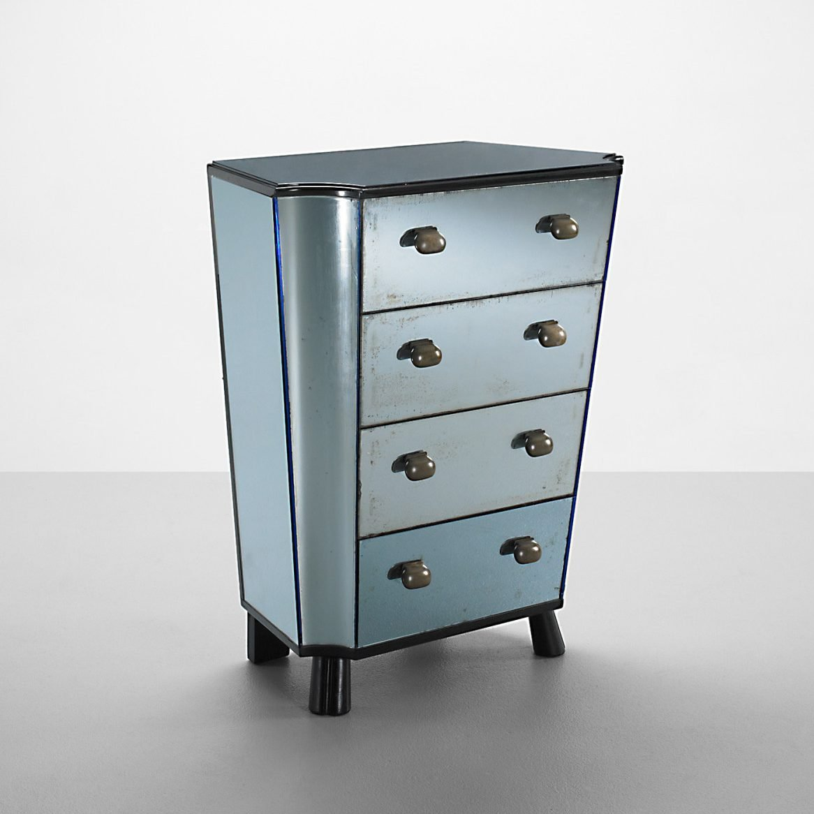 Italian designer Pietro Chiesa chest with drawers made out of blue mirror by Fontana Arte at design and art gallery Casati Gallery