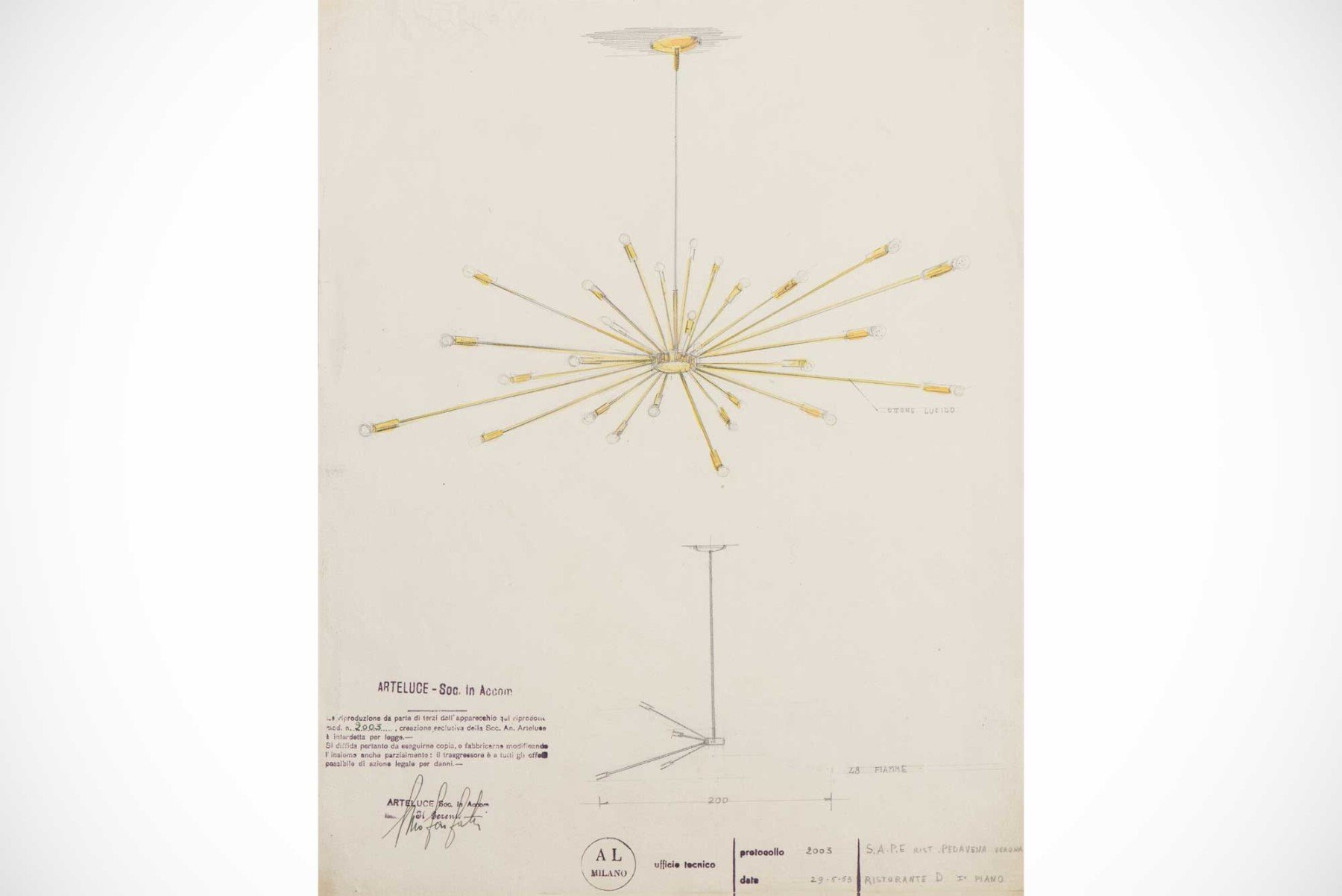 Design drawing of the ceiling light, model 2003