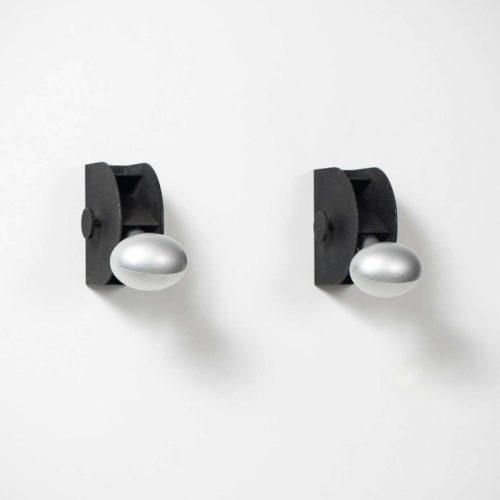 Italian designer Gino Sarfatti black sconces manufactured by Arteluce