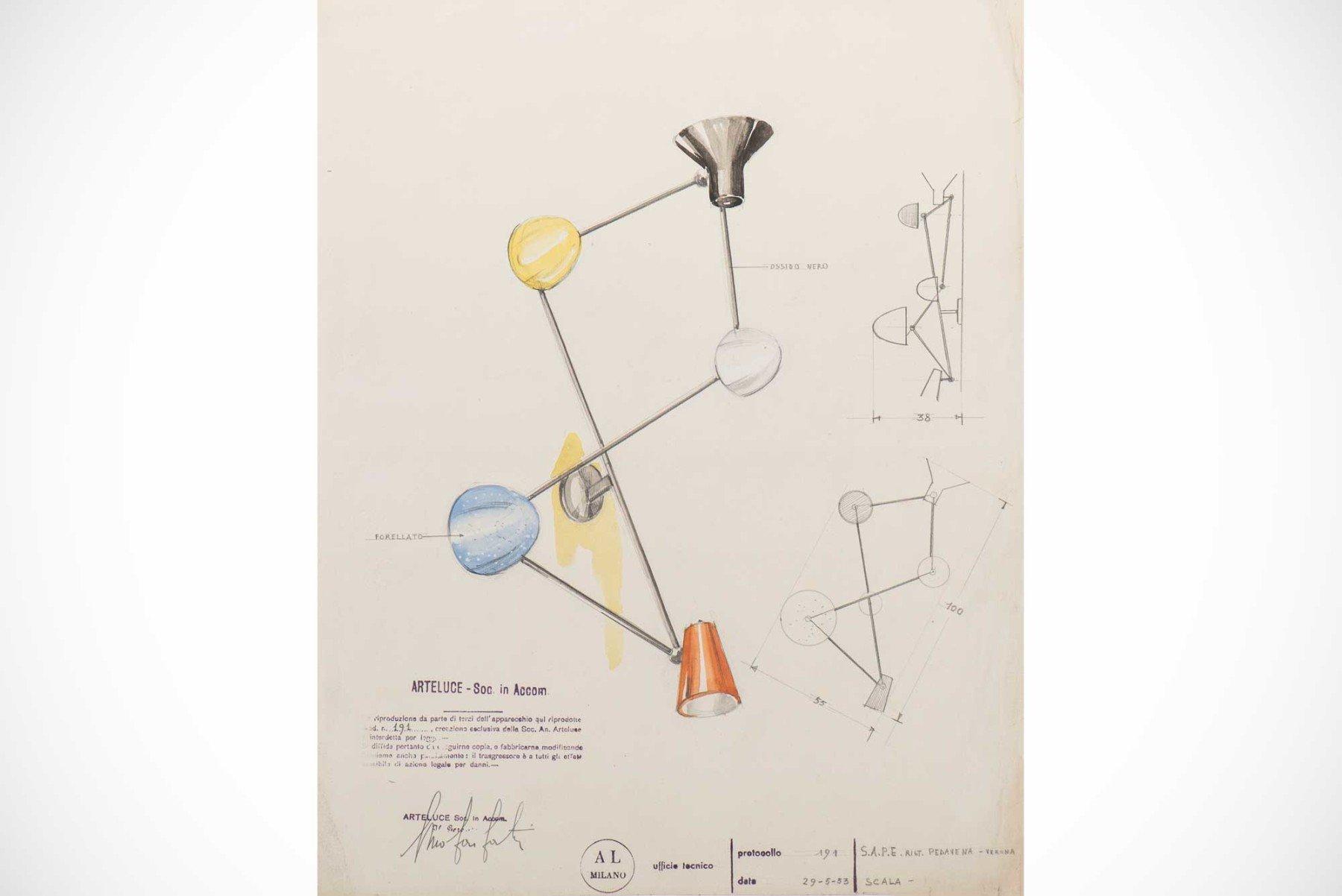 Gino Sarfatti |   Design drawing of the wall light, model 191