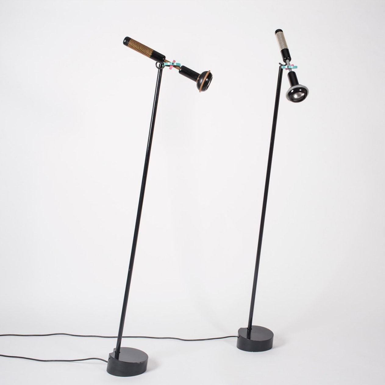 Two Flos Grip floor lamps by designed by Achille Castiglioni at Italian design and furniture gallery Casati Gallery