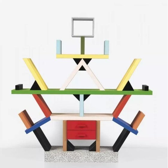 Multicolored Memphis Group bookcase designed by Italian architect Ettore Sottsass