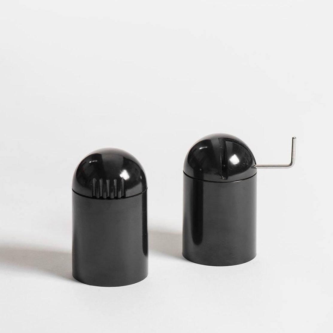 Salt shaker & Pepper grinder by Danese designed by Enzo Mari2