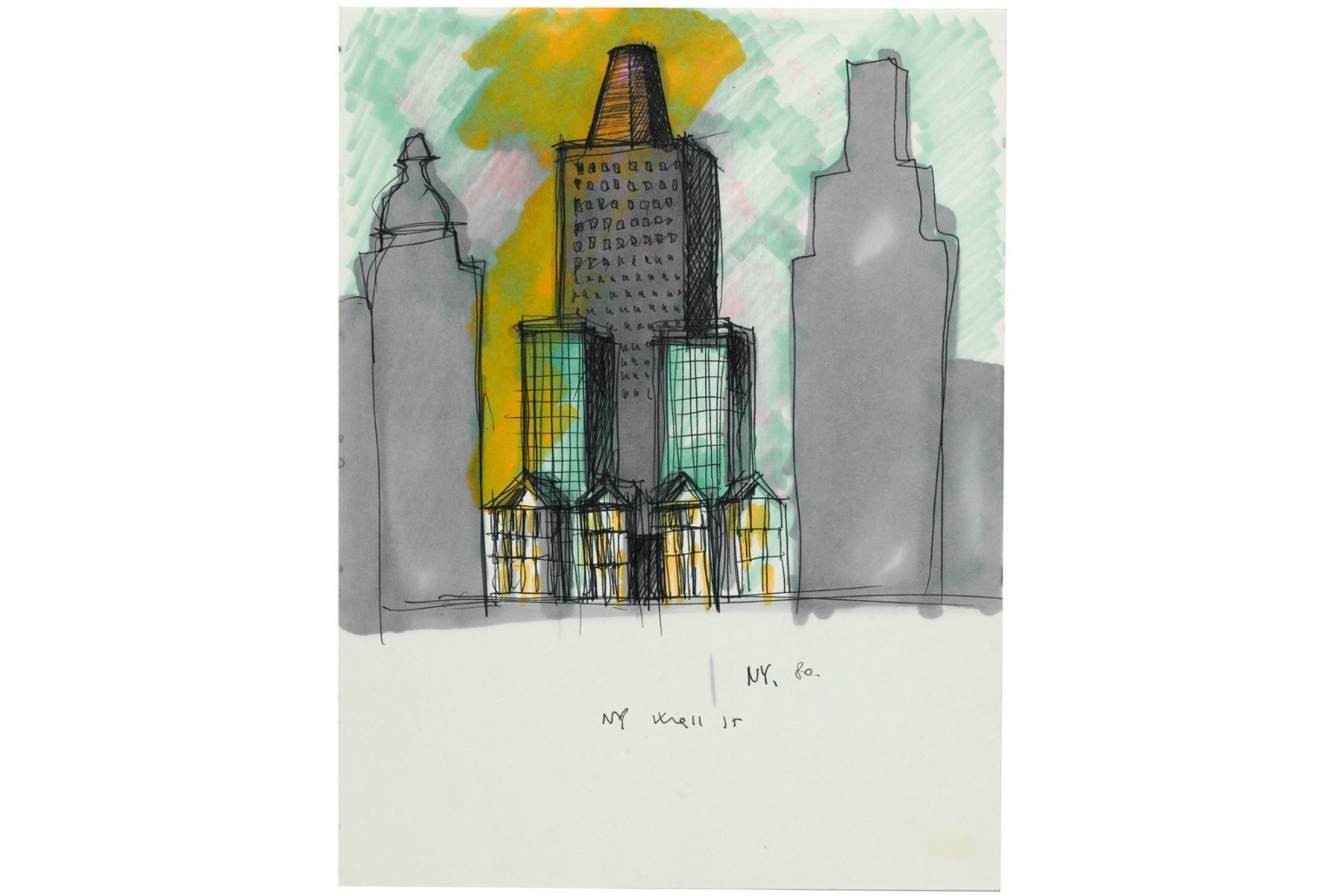 Aldo Rossi |   Drawing - NY Wall Street