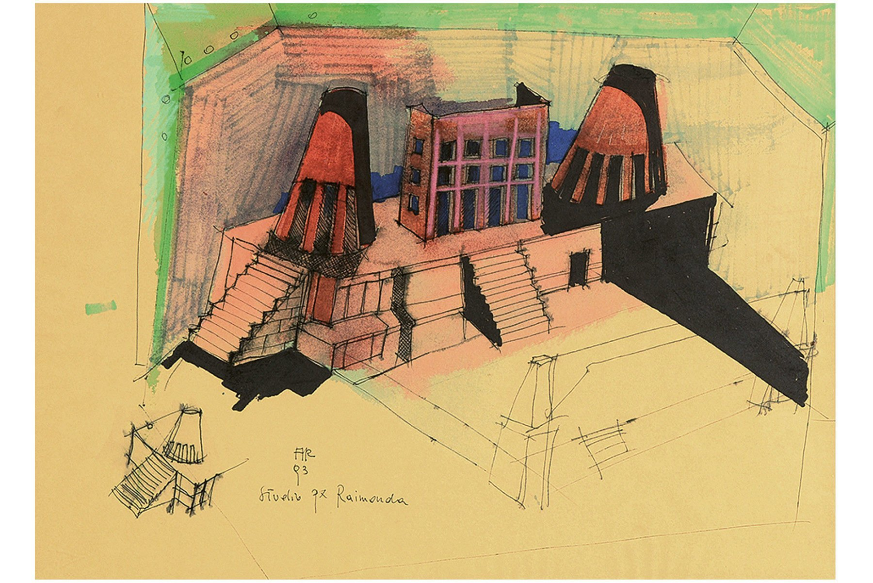 Italian architect Aldo Rossi - Studio px Raimonda - architectural drawing - Landscape