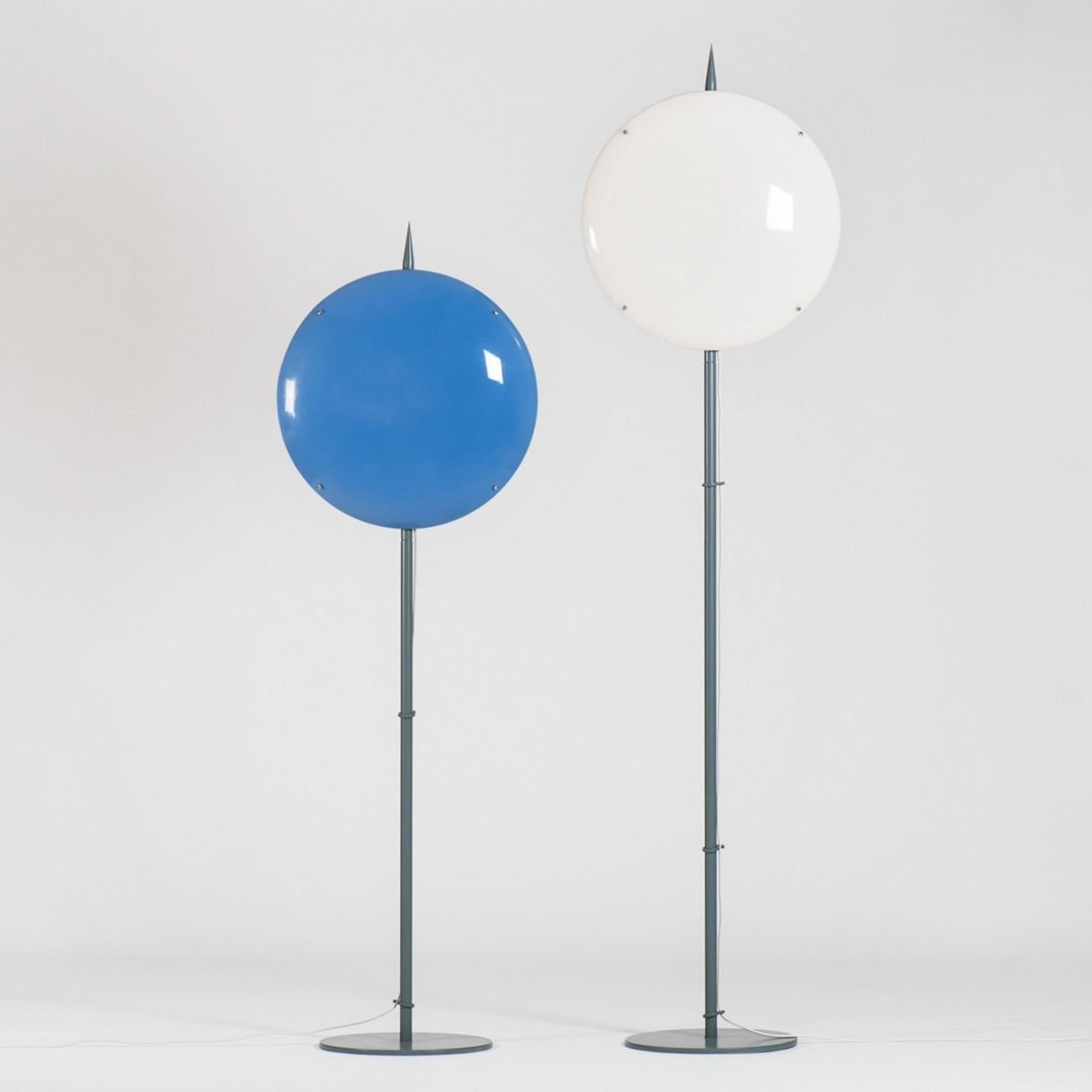 Blue and white Arredoluce Lamps designed by Italian architect and designer Gio Ponti for a house in Caracas