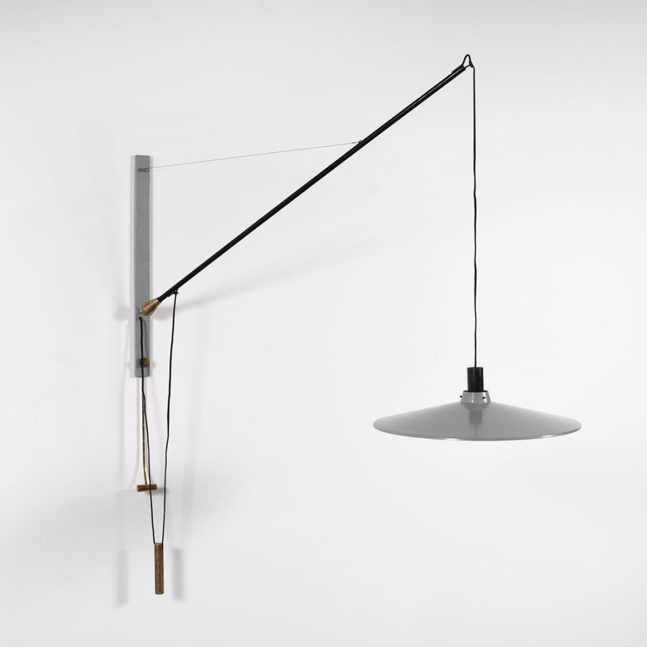 Arteluce Wall Lamp Model 181 with electric cord that allows for adjusting its height by Italian designer Gino Sarfatti at Italian design and furniture gallery Casati Gallery
