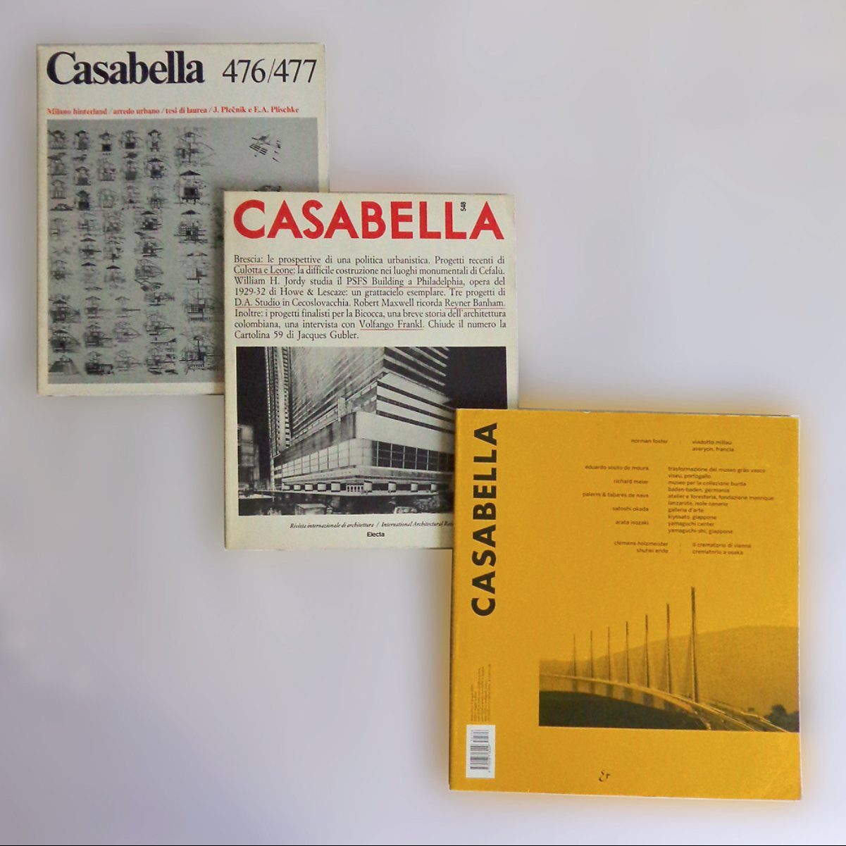 Three issues of Casabella Magazine