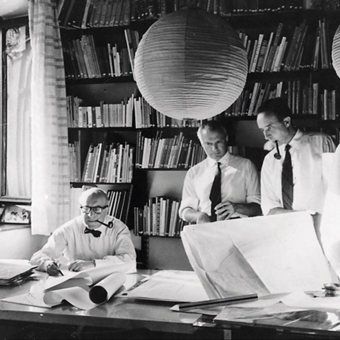 Studio BBPR, Left to right: Rogers, Peressutti and Belgiojoso in the studio of via dei Chiostri Image from Università IUAV di Venezia, Archivio Progetti, Fondo Fondazione Masieri