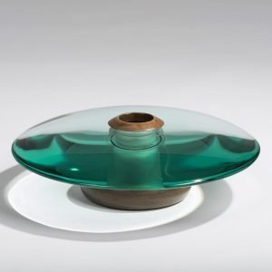 Fontana Arte glass and brass vase at design and furniture gallery Casati Gallery