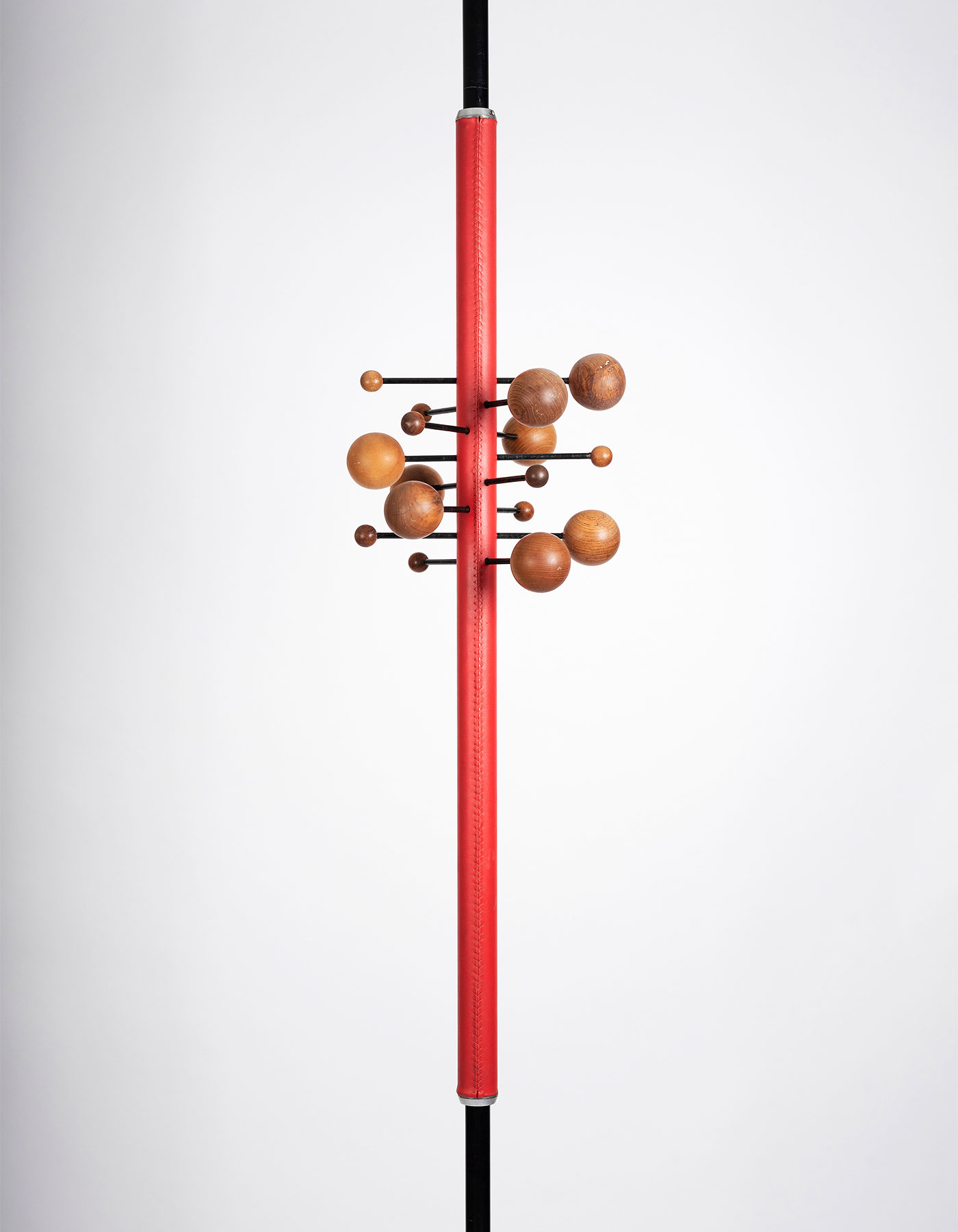 Osvaldo Borsani AT16 red coat rack manufactured by Tecno at Italian design and art gallery Casati Gallery