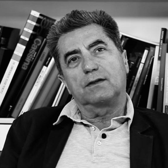Italian designer Antonio Citterio speaking in his office