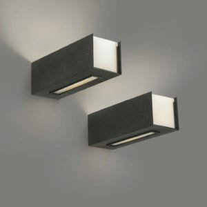 Two black lacquered and opaline glass wall lamps or sconces designed by Italian designer Gino Sarfatti and manufactured by Arteluce in 1959
