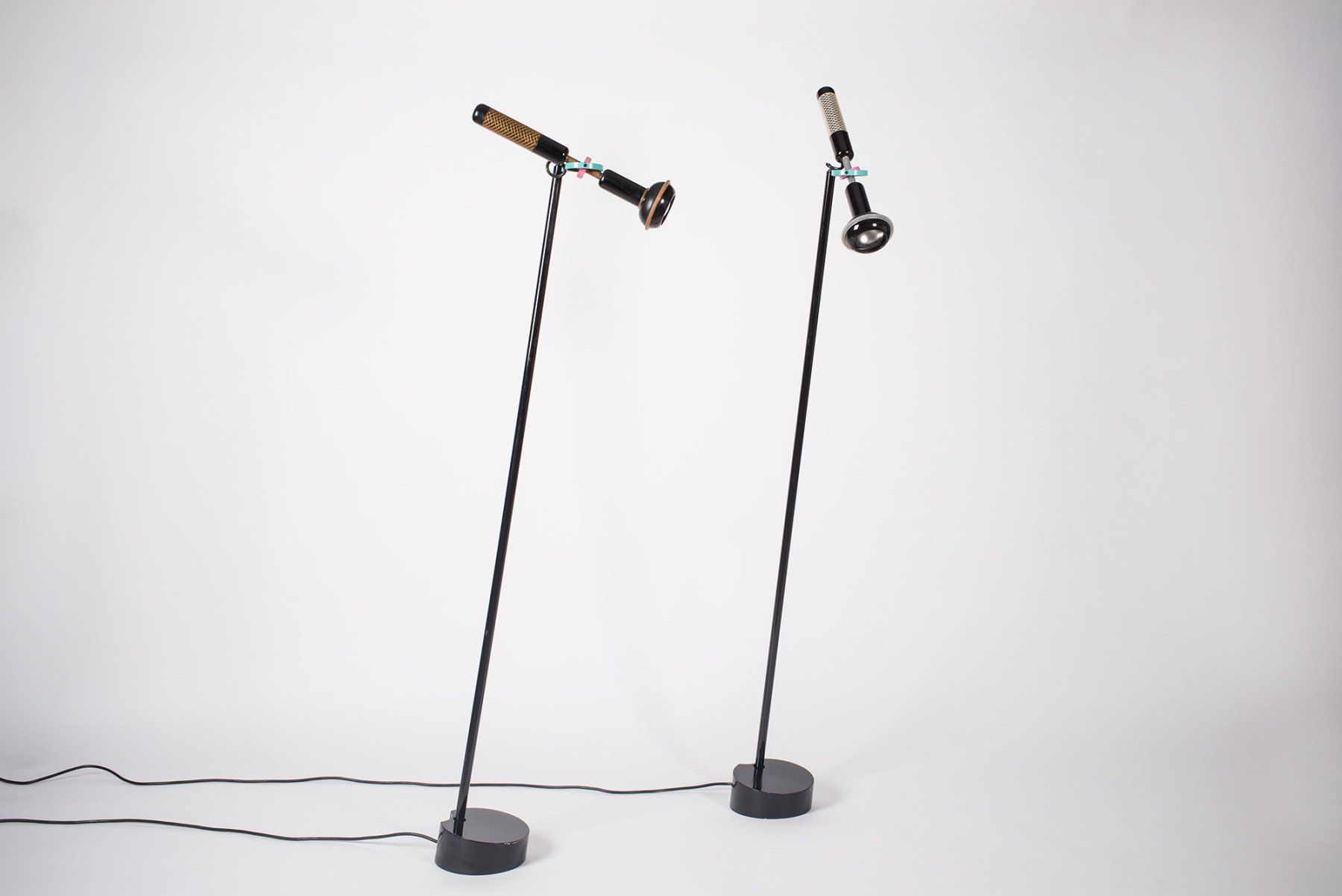 Lacquered metal, rubber, and plastic, Grip floor lamps designed by Achille Castiglioni