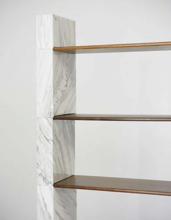 Afra & Tobia Scarpa white marble and wood Cidonio bookcase manufactured by Poggi at Italian design and art gallery Casati Gallery