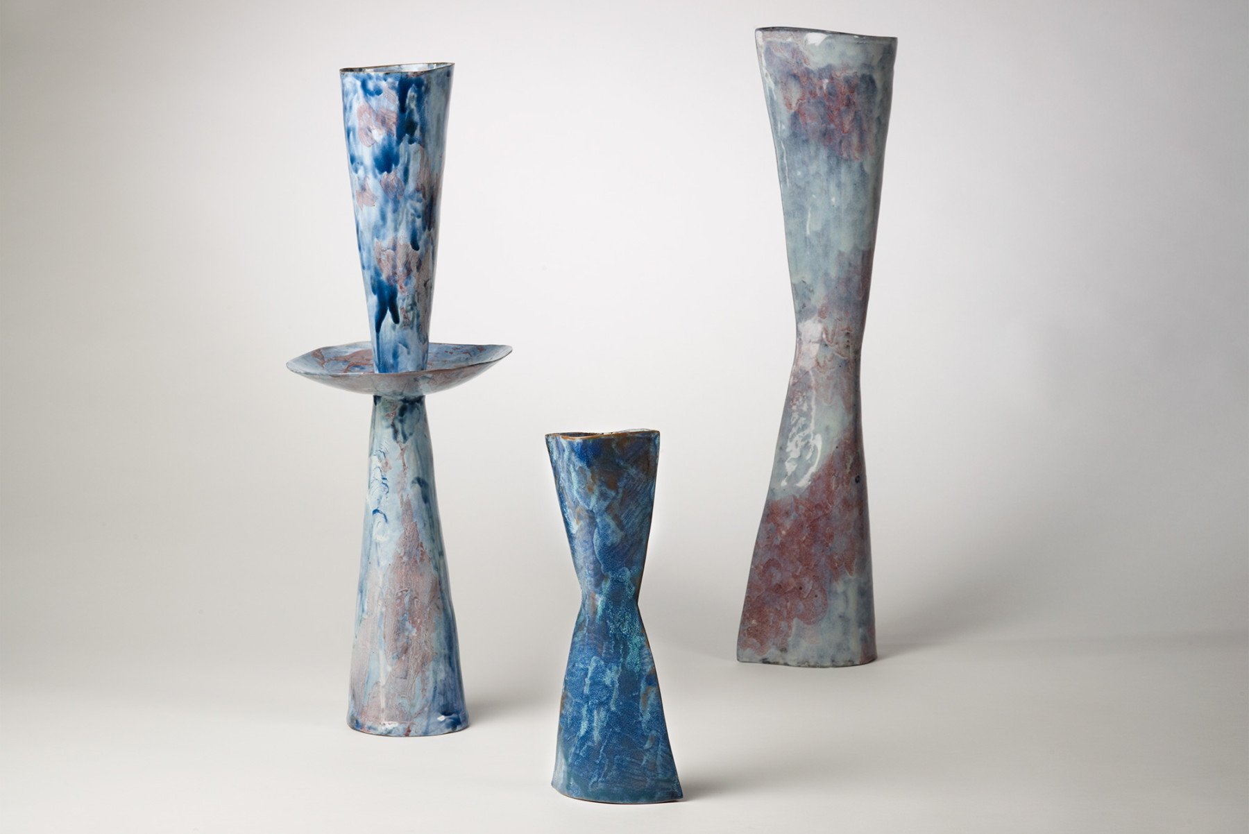 Three Fausto Melotti Vaso-Vescovo ceramic vases at Italian design and art gallery Casati Gallery