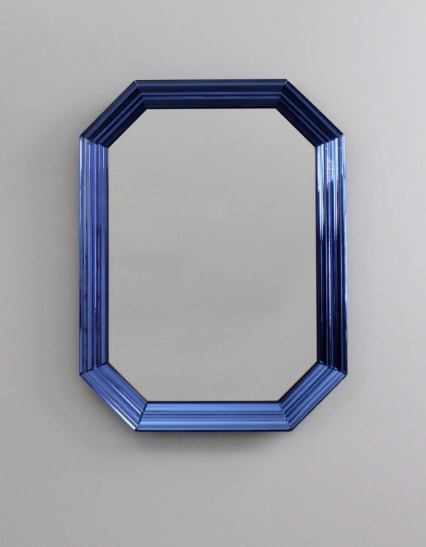 Pietro Chiesa blue mirror manufactured by Fontana Arte at design and art gallery Casati Gallery