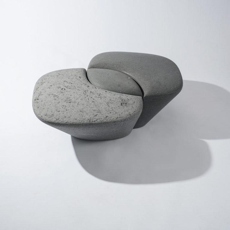 Philippe Nigro Métissage stone bench with shadwos