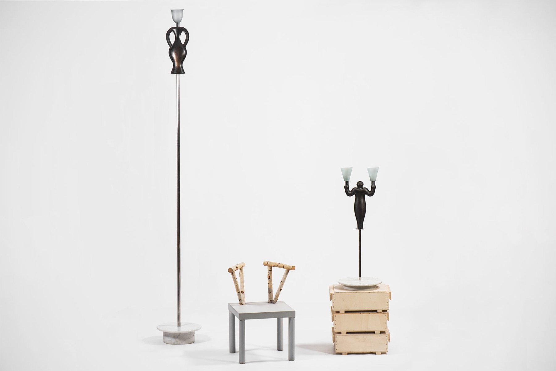 Andrea Branzi collection at Casati Gallery , Anfora floor lamp, Domestic Animals chair and Donna table lamp