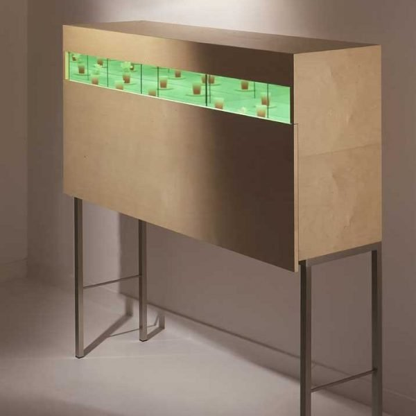 Andrea Branzi Giardino cabinet with mirrors and lights inside it at design and furniture gallery Casati Gallery