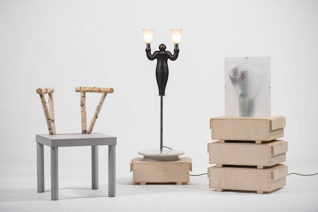 Italian art and design gallery Casati Gallery Andrea Branzi table lamp and chair