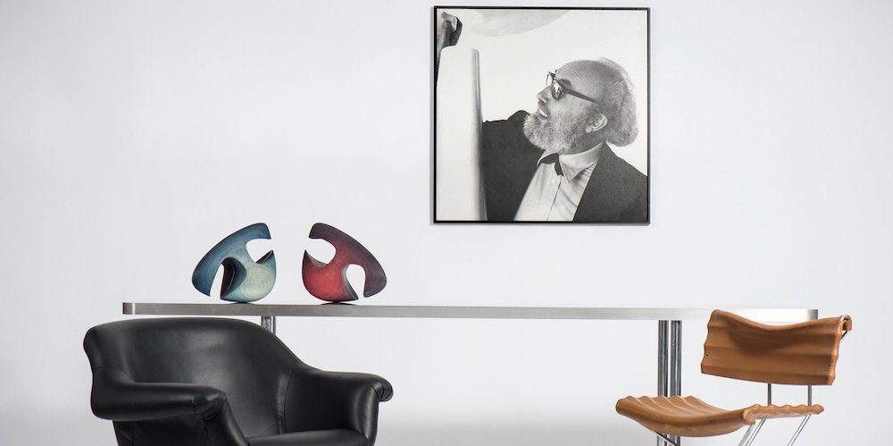 Angelo Mangiarotti chairs and sculpture with a portrait of Angelo Mangiarotti