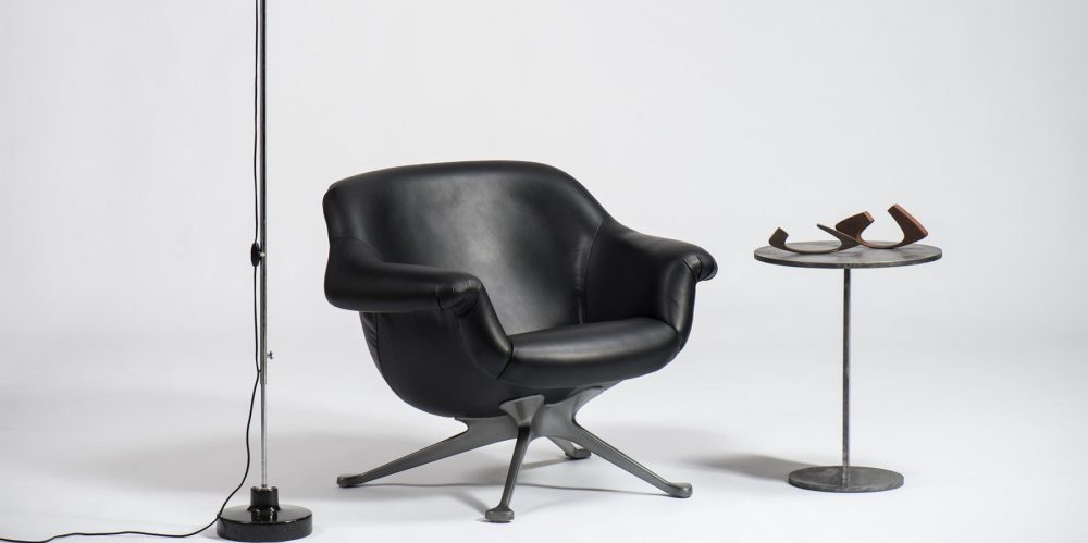 Black leather seat by Italian designer Angelo Mangiarotti