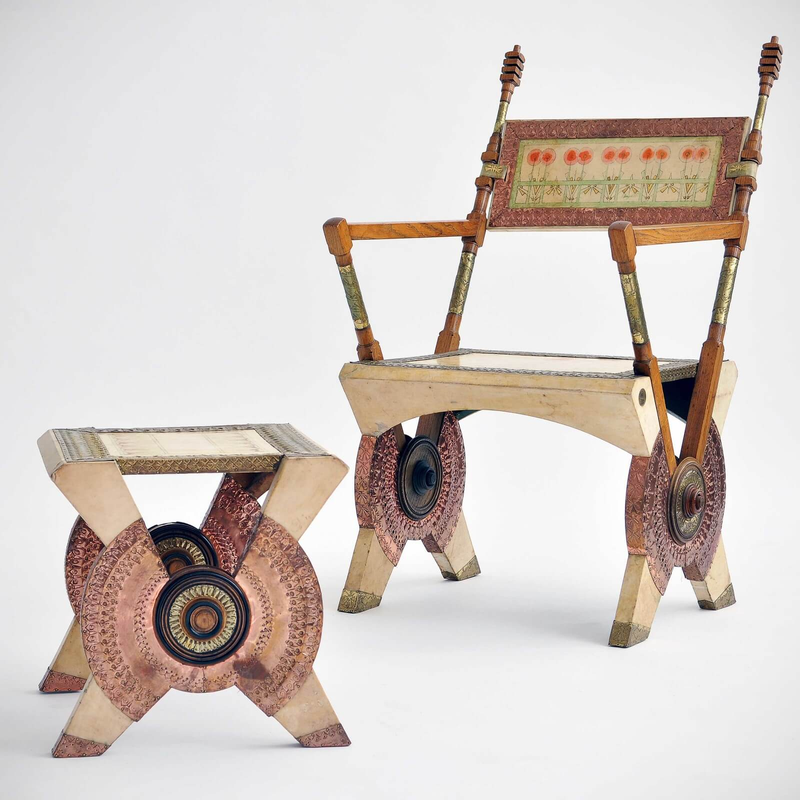 Carlo Bugatti |                                  Chair and stool