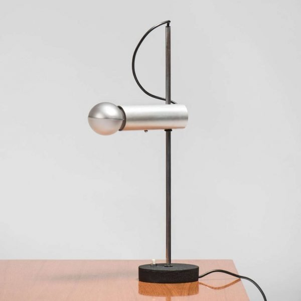 Gino Sarfatti |                                  Flush aluminum table lamp, model 566