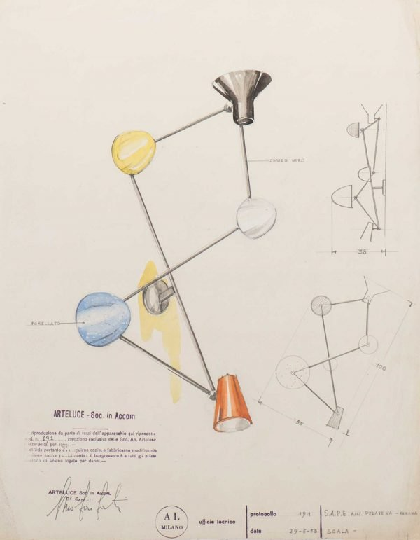 Gino Sarfatti |  Design drawing of the wall light, model 191