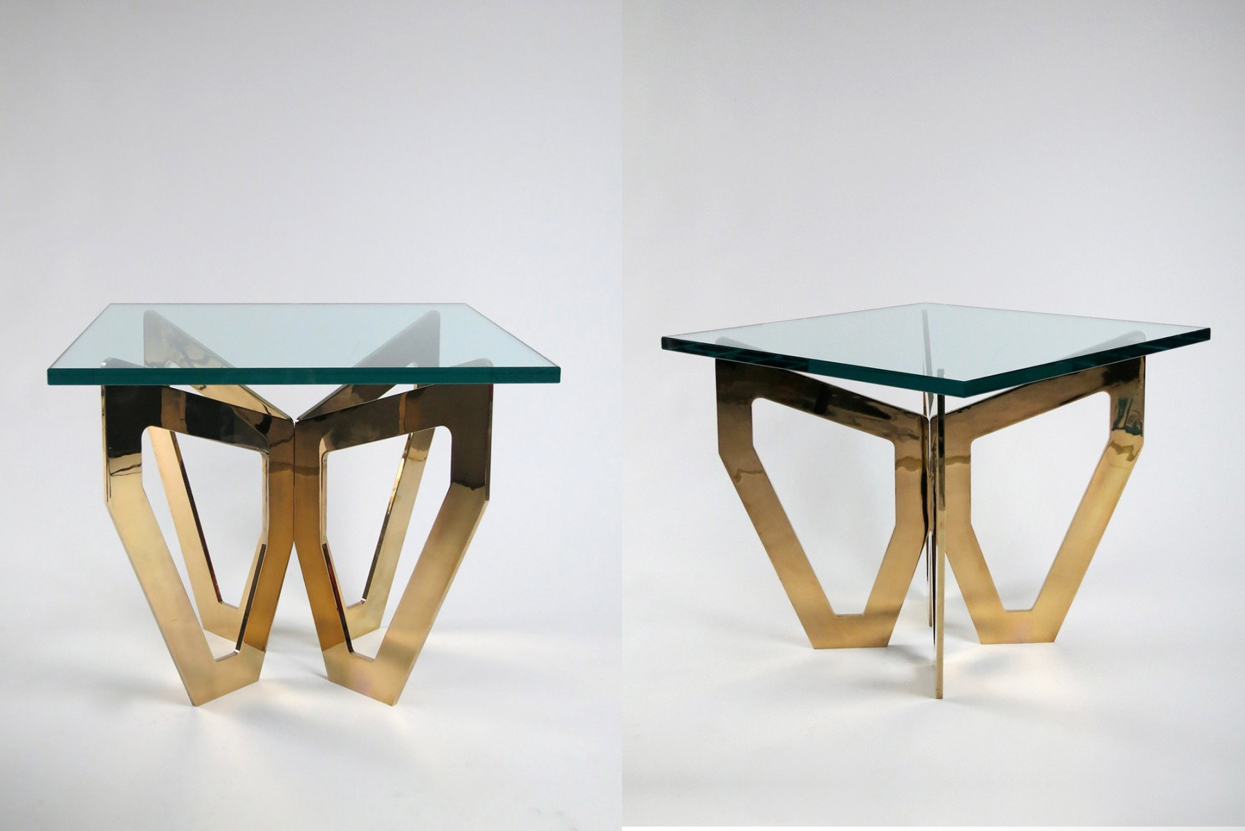 Jonathan Nesci |   H1 - gold coffee table, square top