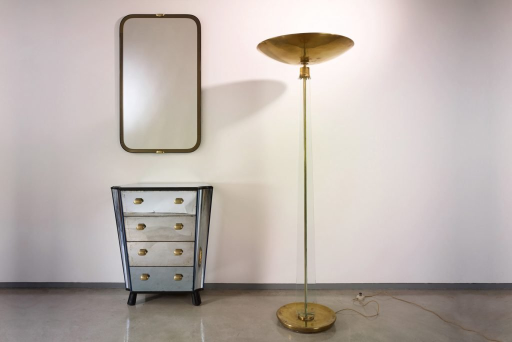 Photo of Pietro Chiesa mirror with a floor lamp and Chest of Drawers
