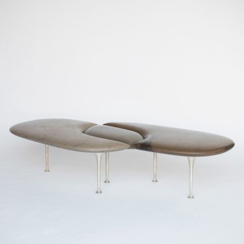 Philippe Nigro marble bench with bronze legs at design and furniture gallery Casati Gallery