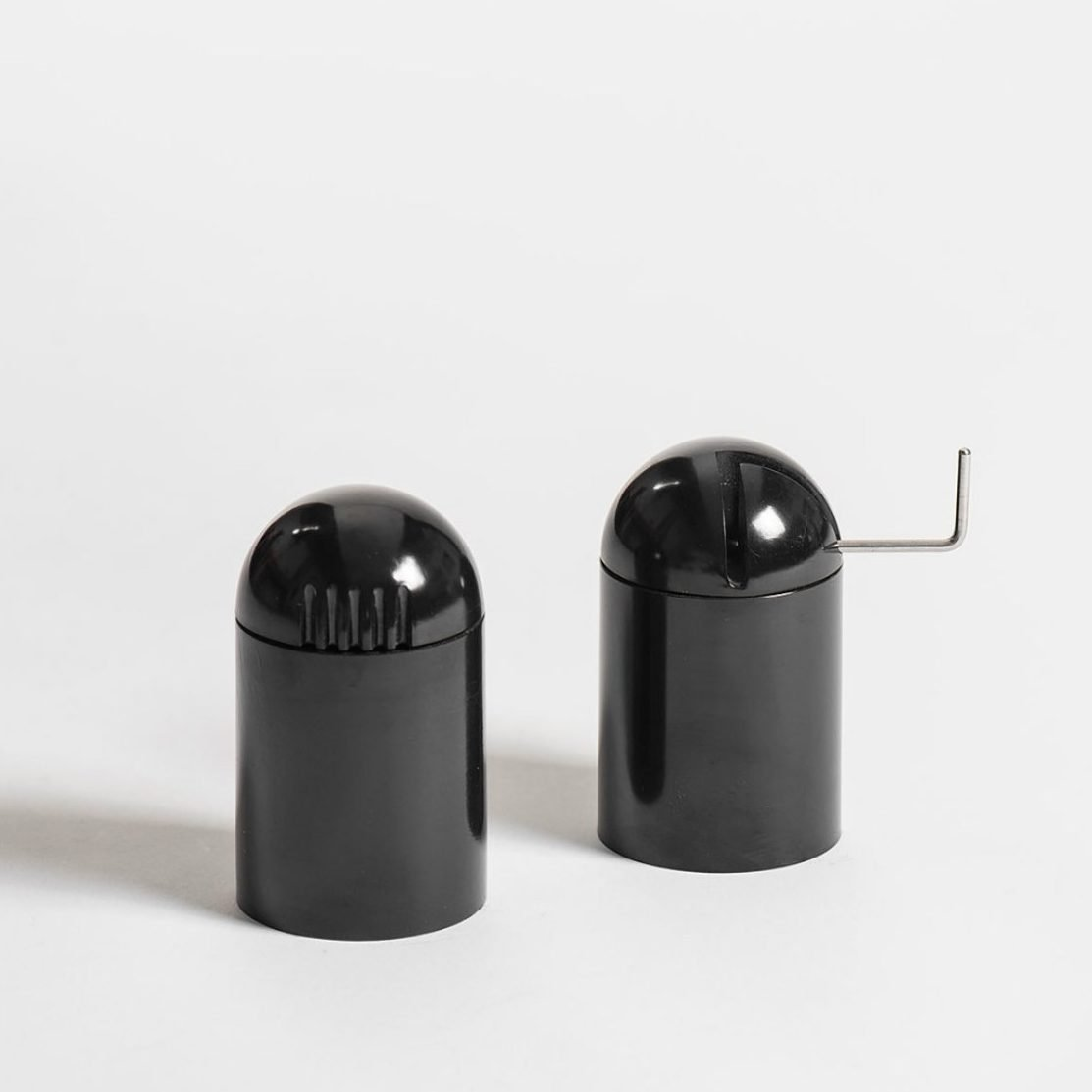 Salt shaker & Pepper grinder by Danese designed by Enzo Mari2