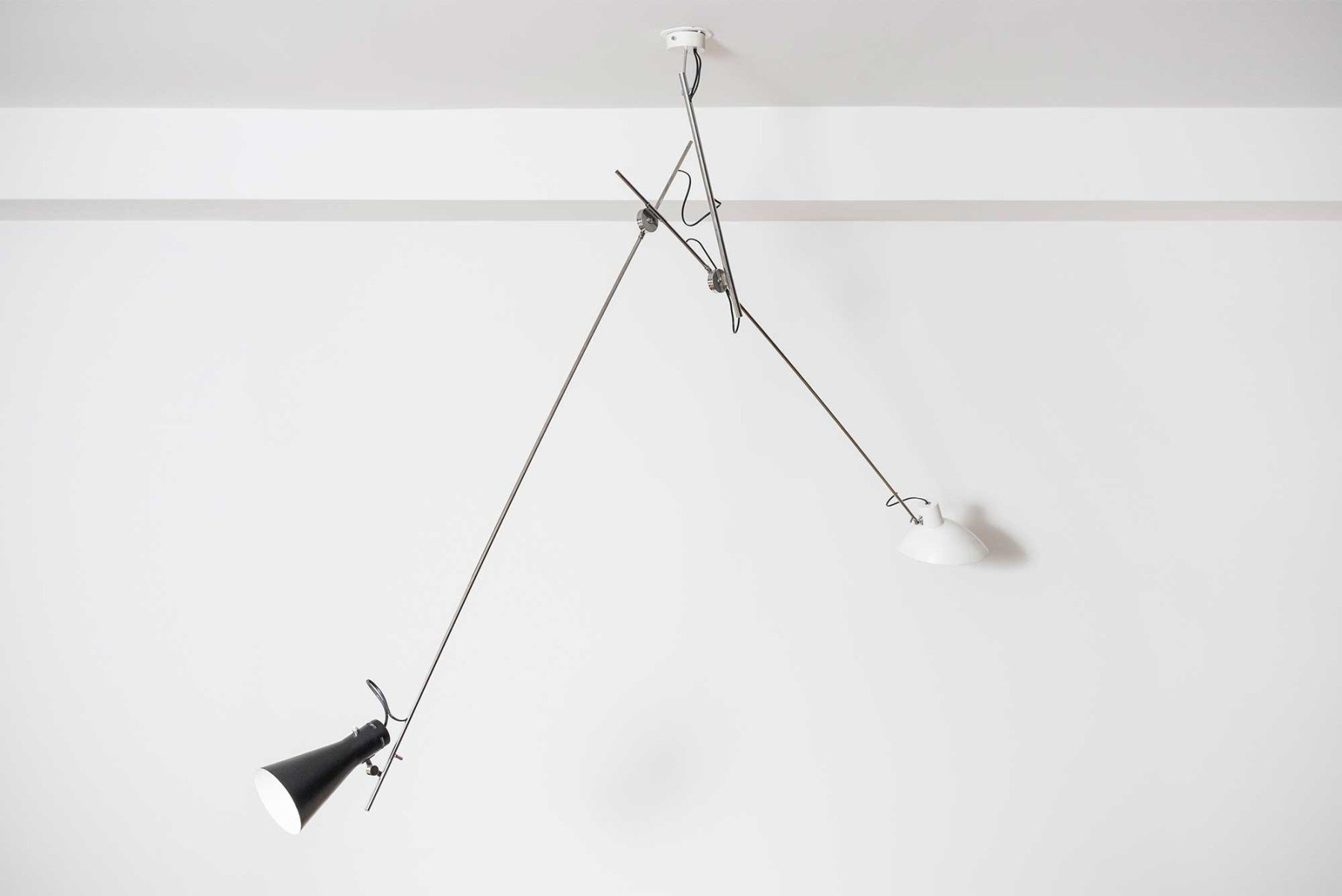 Ceiling light model 2062 by Vittoriano Viganò two arms ,shades colors :black and white