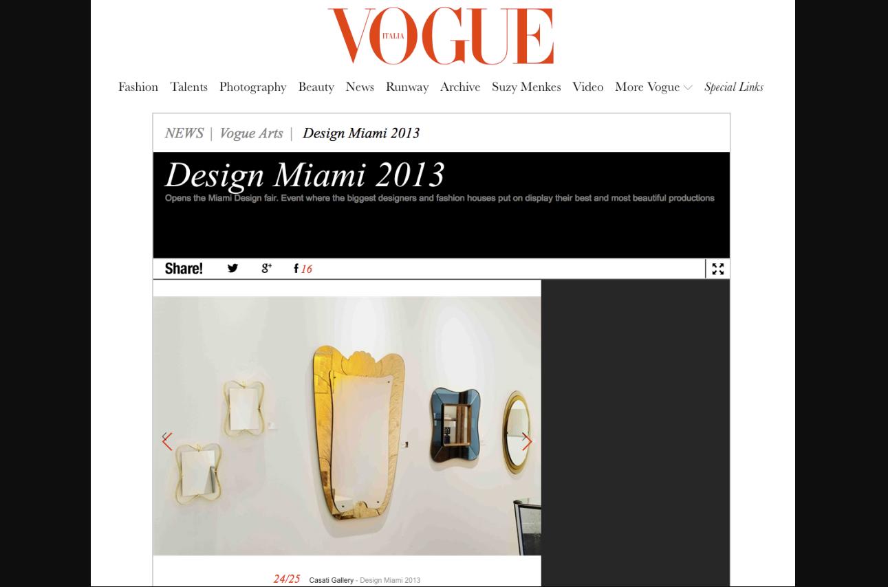 Vouge magazine article about Design Miami 2013