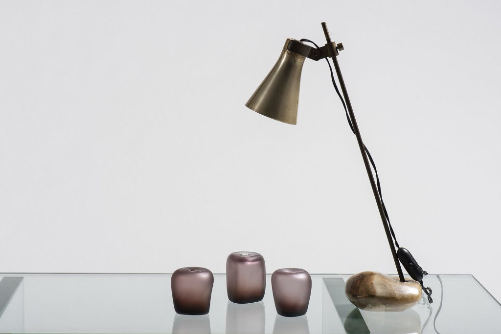 Lasso lamp by Luigi Caccia Dominioni with small murano glass sculpures