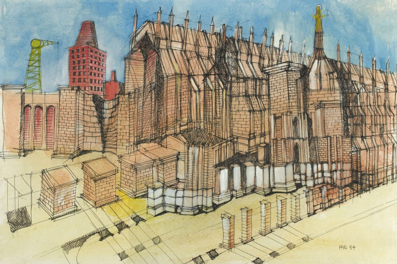 Aldo Rossi Untitled architectural drawing - Landscape