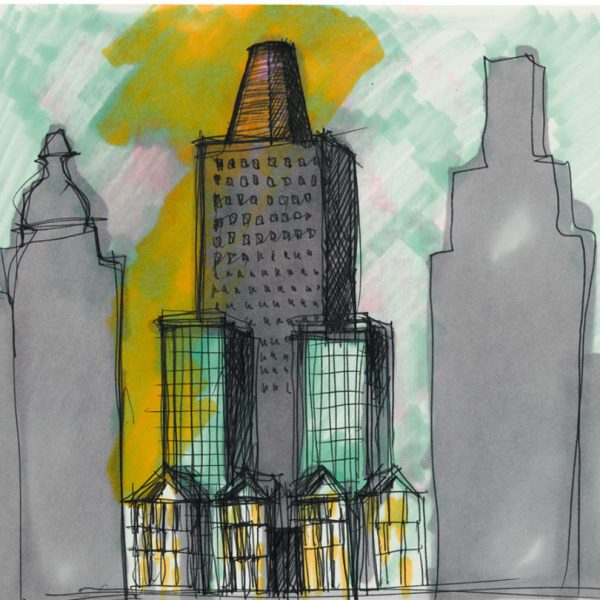 Aldo Rossi |  Drawing - NY Wall Street