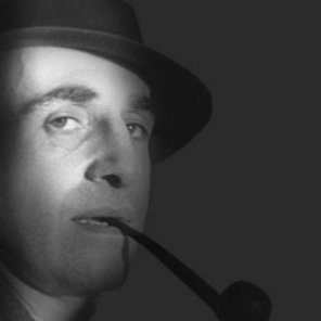 Portrait of Italian architect and designer Giuseppe Pagano Pgatshchnig with a hat and smoking a pipe