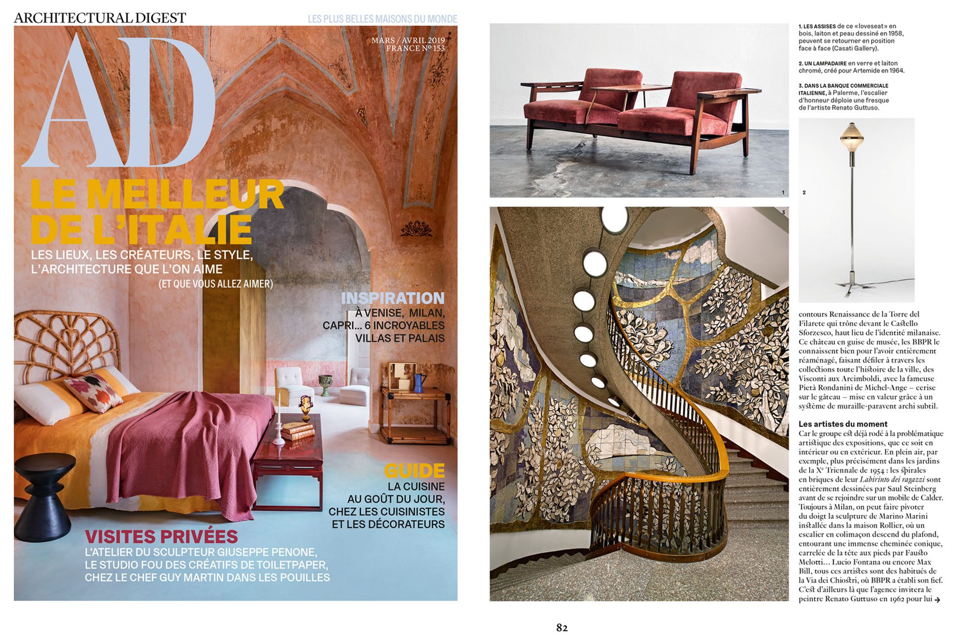 Architectural Digest article on BBPR studio at design and furniture gallery Casati Gallery