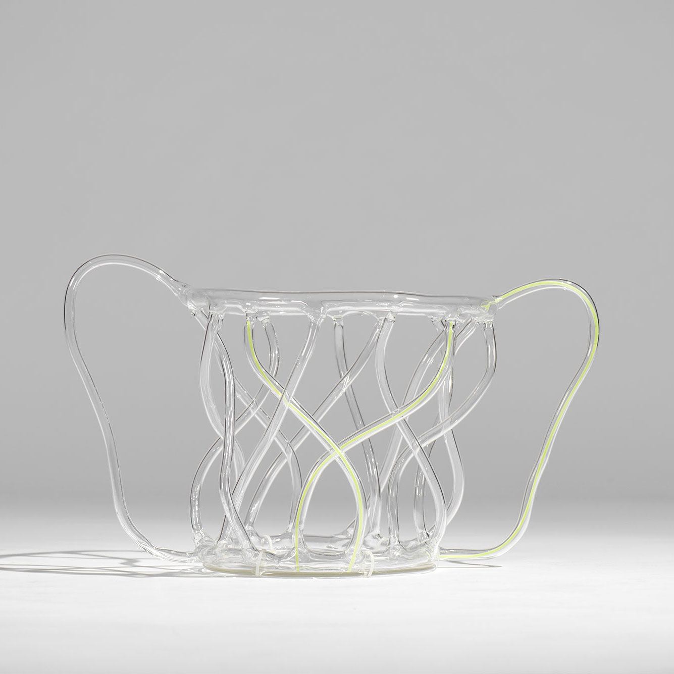 Andrea Branzi  |  Green Canaries - glass basket