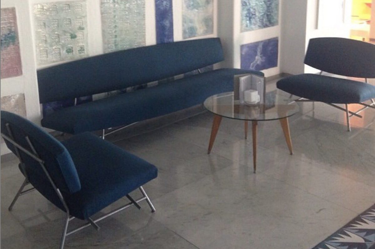 Lobby at the Parco dei Principe Hotel in Sorrento with Ico Parisi, Gio Ponti and Melotti pieces