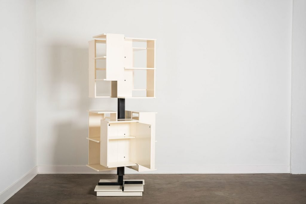 Revolving white wood bookcase by Italian architect and designer Claudio Salocchi at Italian design and furniture gallery Casati Gallery