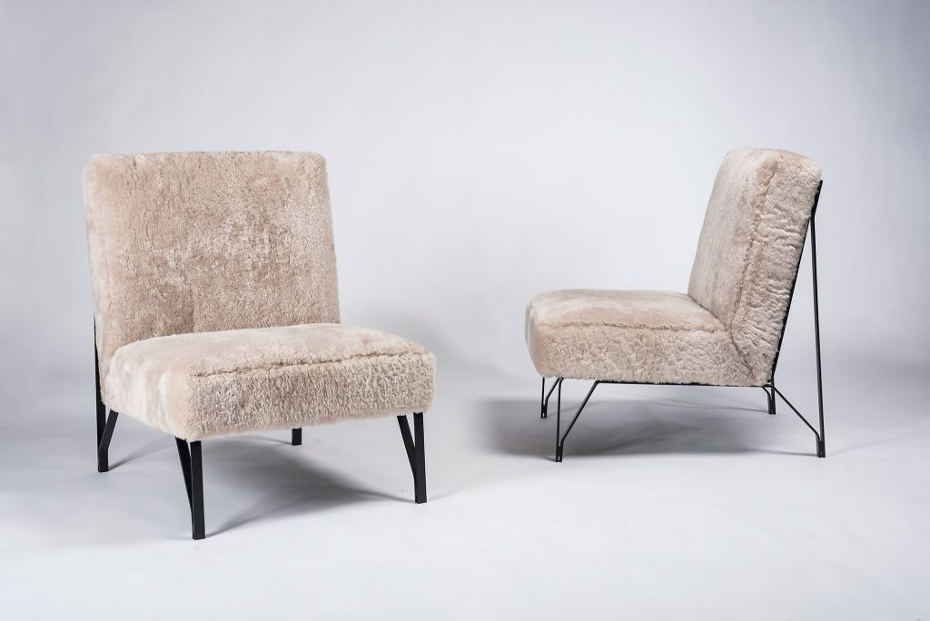 Pair of Eleanora Peduzzi Riva chairs with metal frame and upholstered seat and back at Casati Gallery