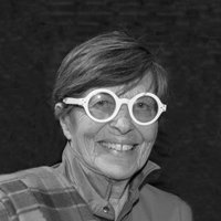 Portrait photograph of Eleanora Peduzzi Riva wearing glasses