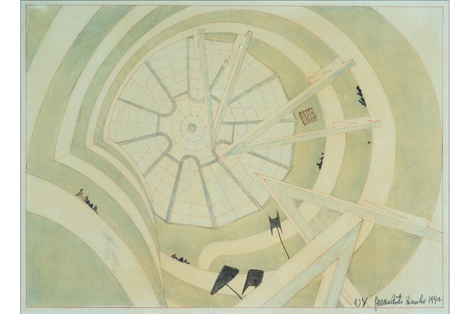 Pencil on paper, sketch of the atrium of The Guggenheim Museum during the seminal exhibition, The Italian Metamorphosis, 1943-1968. Made by Gae Aulenti.