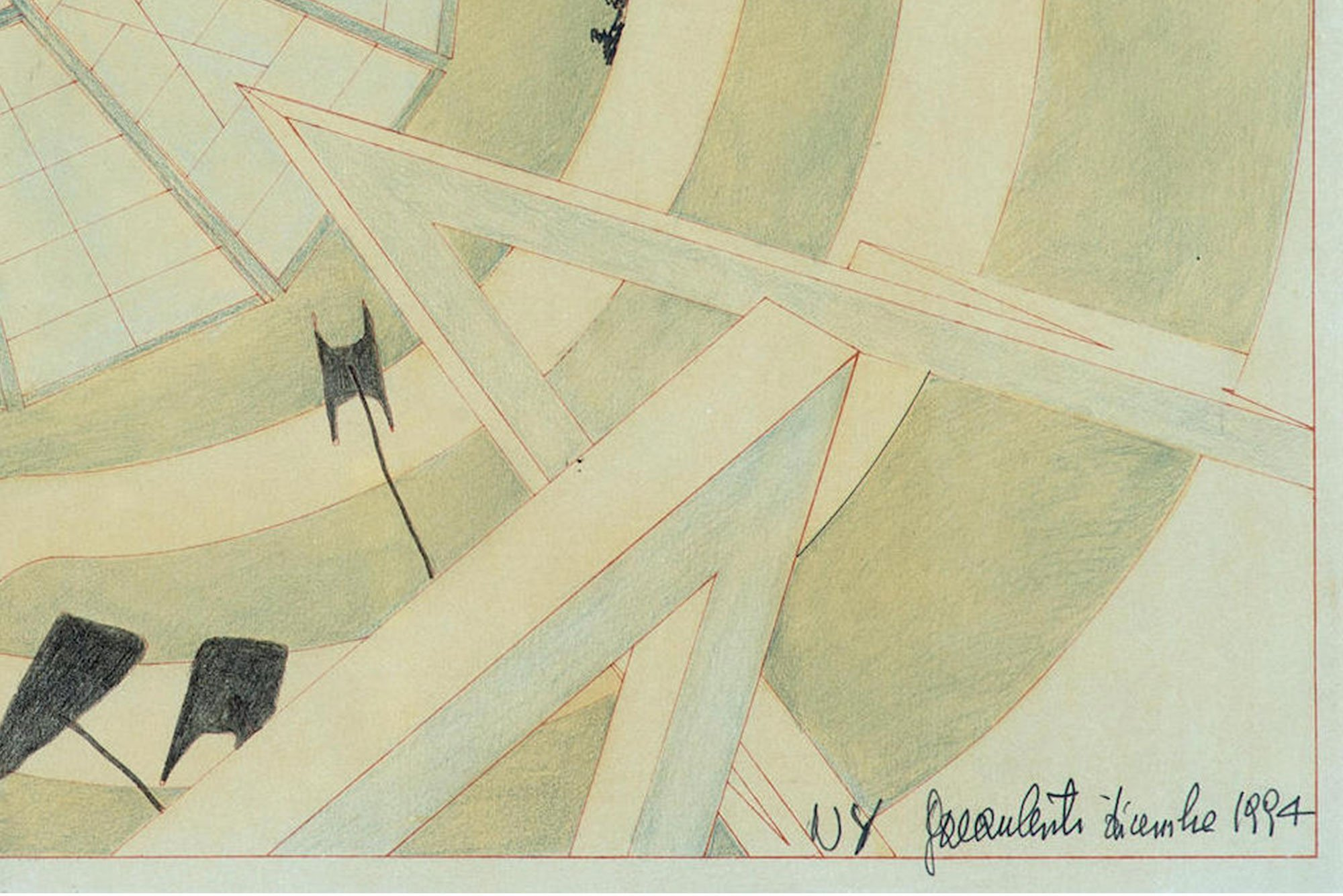 Pencil on paper, sketch of the atrium of The Guggenheim Museum during the seminal exhibition, The Italian Metamorphosis, 1943-1968. Made by Gae Aulenti. Closeup view of the signature in the lower right corner.