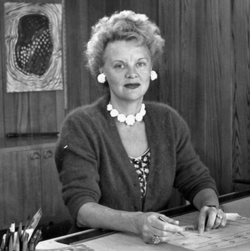 Portrait of Swedish-American designer and architect Greta Magnusson-Grossman at her desk in California